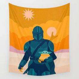 """""""Mando and Child - Gold"""" by Sabrena Khadija Wall Tapestry"""
