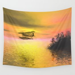 Seaplane Flight at Sunset Wall Tapestry