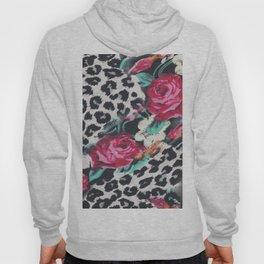 Vintage black white pink floral cheetah animal print Hoody