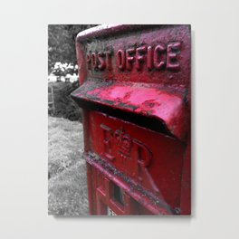 English Red Post Box Herefordshire Countryside Metal Print