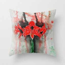Amaryllis in Line + Wash / Watercolor Painting Throw Pillow