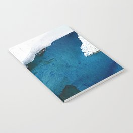 In the Surf: a vibrant minimal abstract painting in blues and gold Notebook