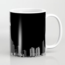 Toronto Skyline - White ground / Black Background Coffee Mug