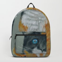 Calico Cat Cartoon Colored Pencil Drawing Backpack