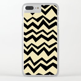 Pop Art Creamy black graphic geometric horizontal zigzag pattern Clear iPhone Case