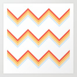 Bright Light Summer Sun Retro Stripes Pattern Britannia Art Print