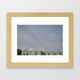 black wires of usuall city Framed Art Print