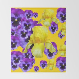 GOLDEN YELLOW IRIS PURPLE PANSY GARDEN Throw Blanket