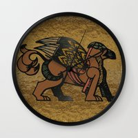 mythology Wall Clocks featuring Gryphon New Age Mythology Folk Art by BohemianBound