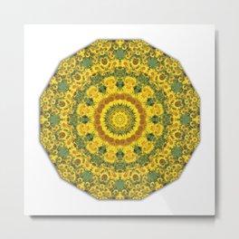 Sunflowers, Floral mandala-style, Flower Mandala Metal Print