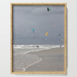 Thunderclouds and sunshine -  grey sky wind and kitesurfers in Holland -  Serving Tray