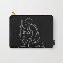 Military Serviceman Kneeling Warrior Tribute Illustration Carry-All Pouch