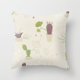 My Potted Cactus Pattern Throw Pillow