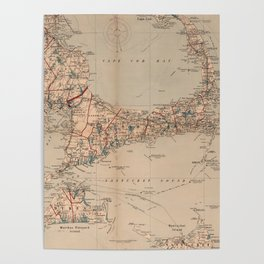 Vintage Map of Cape Cod MA (1905) Poster