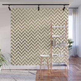 Elegant modern geometrical faux gold chevron pattern Wall Mural