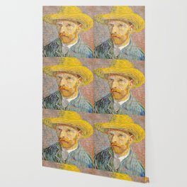 Self-Portrait with a Straw Hat - Vincent Van Gogh Wallpaper