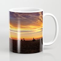 "volleyball Mugs featuring Hermosa Beach ""Volleyball"" by Arturo Garcia"