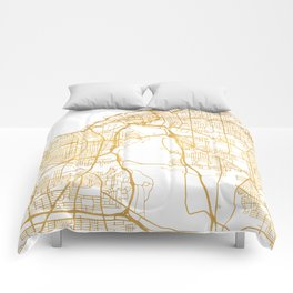 CLEVELAND OHIO CITY STREET MAP ART Comforters