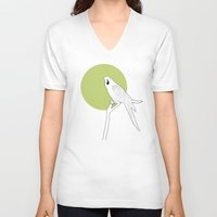 parrot V-neck T-shirts featuring Parrot by Rebekhaart