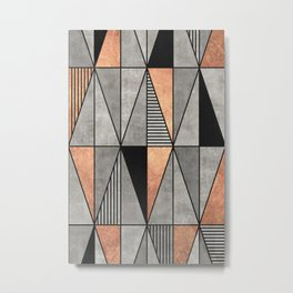 Concrete and Copper Triangles Metal Print