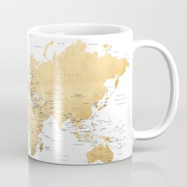 Gold world map with country capitals Coffee Mug