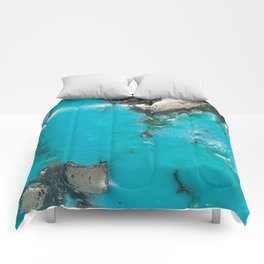 Turquoise with Gold Veining and Deposits Comforters