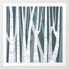 Blue Birches Art Print
