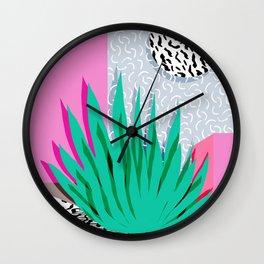 Dag - throwback memphis 1980s neon art pink pastel pattern black and white minimal art design urban Wall Clock