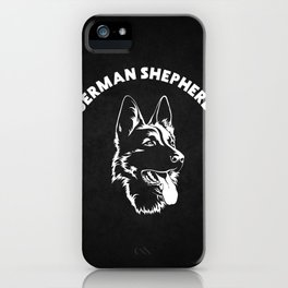 German Shepherd black and white illustration iPhone Case