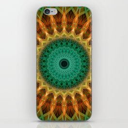 Mandala with green, brown and golden ornaments iPhone Skin