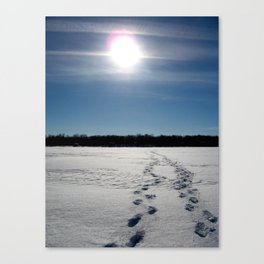 Winter Lake Walk in North Dakota Canvas Print