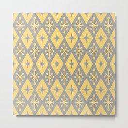 Mid Century Modern Atomic Triangle Pattern 710 Yellow and Gray Metal Print