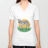 zebra V-neck T-shirts featuring Zebra by Nir P