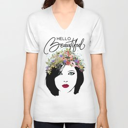 Hello Beautiful Woman and Flower Crown Unisex V-Neck