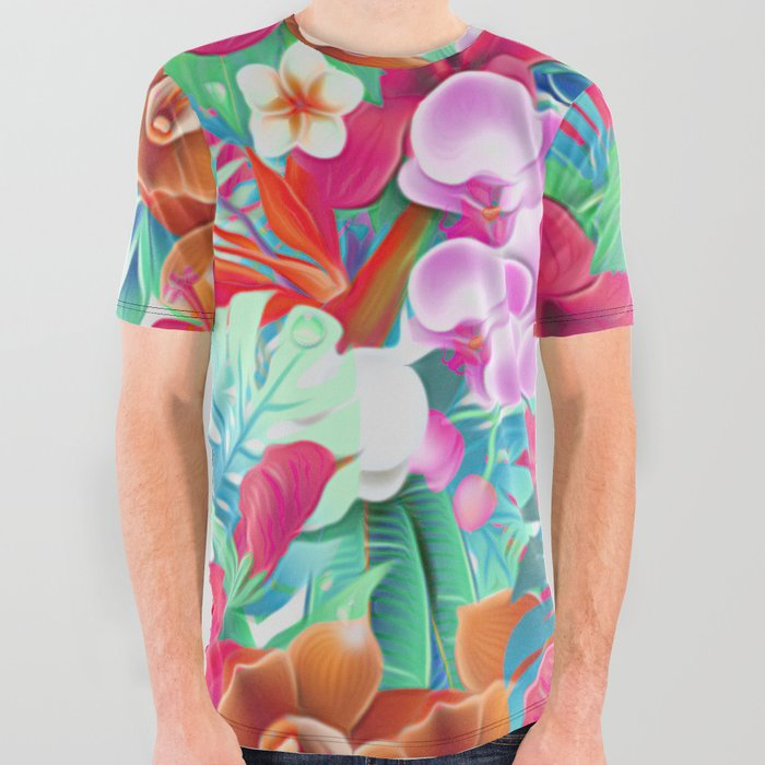 Colorful Tropical Jungle All Over Graphic Tee