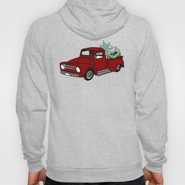 Old Red Christmas Truck In Snow Hoody