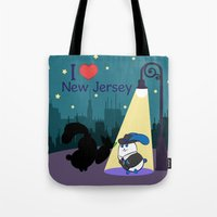 coraline Tote Bags featuring Ernest and Coraline | I love New Jersey by Hisame Artwork