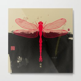 Big Dragonfly In Red And Black Metal Print
