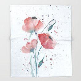 Red poppies in the sun floral watercolor painting Throw Blanket