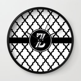 Black Monogram: Letter Z Wall Clock