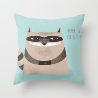 raccoon Throw Pillows featuring Sneaky Raccoon by Chase Kunz