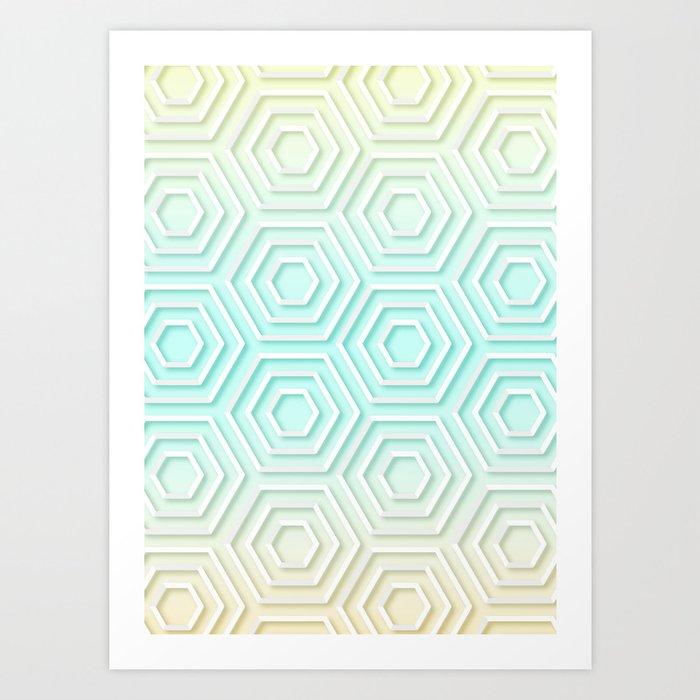 3d Hexagon Gradient Minimal Minimalist Geometric Pastel Soft Graphic Art Print By Aej Design