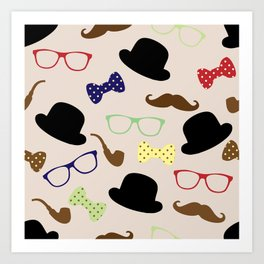 Glasses hats and Mustache Art Print