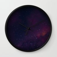milky way Wall Clocks featuring Milky Way by Michelle McConnell