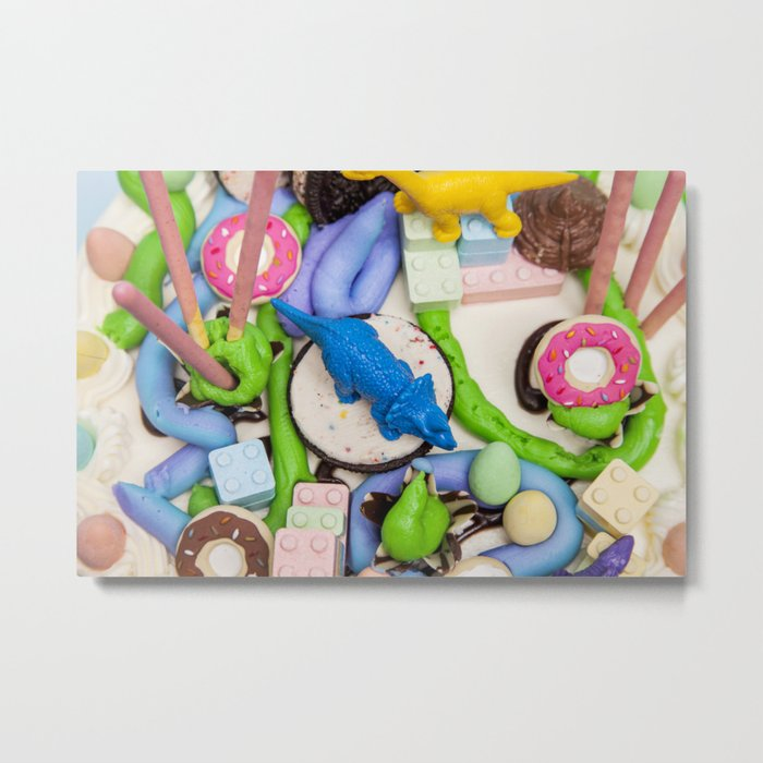 Dinos and Donuts Cake Makeover Metal Print
