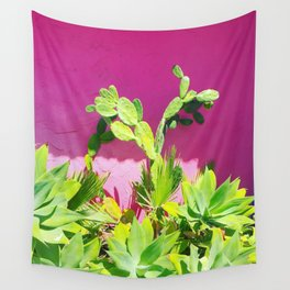 Plants on Pink Wall Tapestry