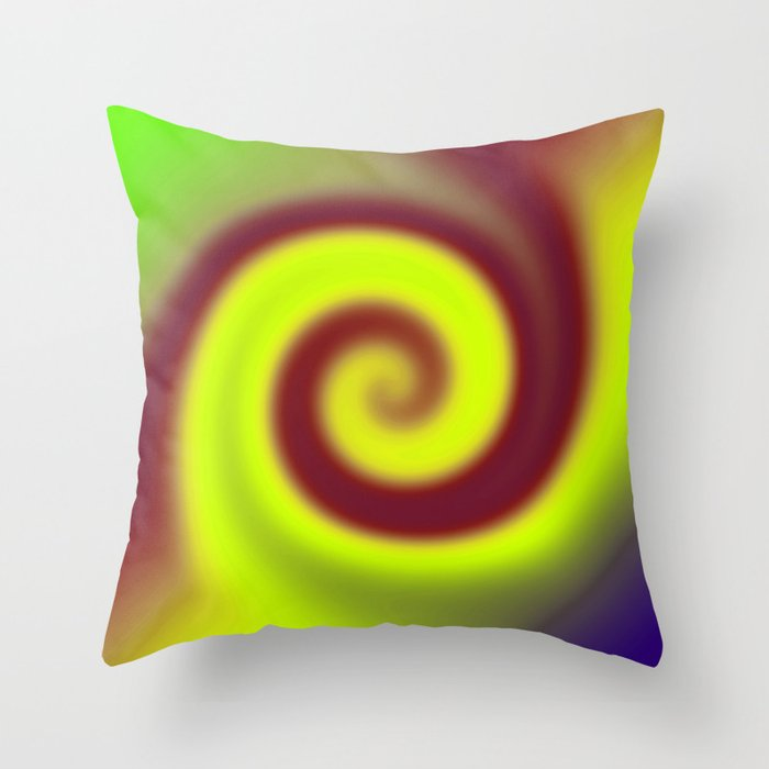 Yellow Red Swirl Abstract Throw Pillow