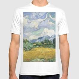 Wheat Field with Cypresses by Vincent van Gogh Farmhouse Aesthetic Blue Emerald Green Golden Yellow T-shirt