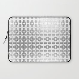 Black Interlocking Geometric Square Pattern on White Laptop Sleeve