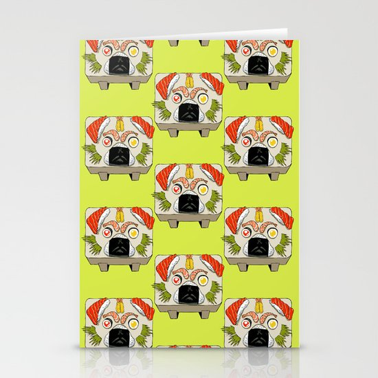 Pug Sushi Stationery Cards